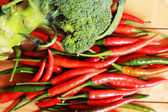 Broccoli, fresh vegetables and fresh chili — Stock Photo