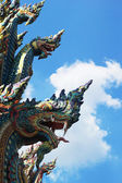 Thai dragon, King of Naga statue in Temple Thailand. — Stock Photo