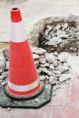 Traffic cones on the damaged roads — Stock Photo