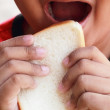 Child eating a delicious slice of bread — Stock Photo #39618499