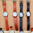 Handmade leather strap watch market. — Stockfoto #39681793