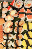 Japanese sushi - sushi egg, shrimp, crab stick, seaweed. — Foto Stock