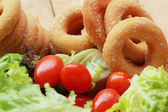 Donut and sugar - fresh vegetable salad.  — Stok fotoğraf