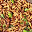 Fried silk worms in market — Stock Photo #41784897