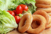 Donut and sugar - fresh vegetable salad.  — Stock Photo