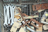 Set of real used stainless spanners — Stockfoto