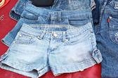 Viel Vintage Jeans mit Nähten Hintergrundtextur — Stockfoto