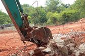 Backhoe car in soil drilling — Stock Photo