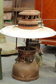 A lot of vintage dirty oil lamp — 图库照片