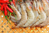 Shrimp - for cooking, place the basket.  — Stock Photo