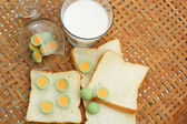 Fresh milk and bread plate with chocolate green. — Stock Photo