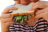 Ladies eating a tuna sandwich with gusto.  — Stock Photo