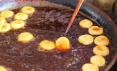 Deep-fried dough stick on the pan — Stock Photo