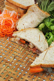 Making tuna sandwich with fresh vegetables  — Стоковое фото