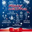 Merry christmas, multilingual — Imagen vectorial