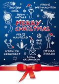 Merry christmas, multilingual — Stock Vector
