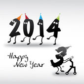 2014 Happy New Year Greeting Card, year in and year out — Vector de stock