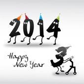 2014 gott nytt år kort, år ut och år in — Stockvektor