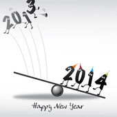 2014 Happy New Year Greeting Card, numeral, year in and year out — Stock Vector