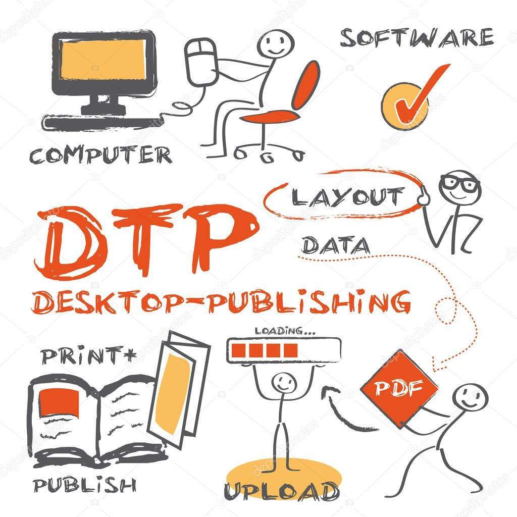 desktop publishing Desktop publishing, more popularly known as dtp, is the process of creating documents through page layouts with the help of certain software that aids in combining elements of different media sources such as pictures.