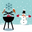 Winter bbq — Grafika wektorowa