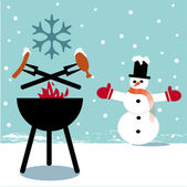 Winter bbq — Stock Vector