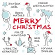 Merry Christmas, multilingual, blue — Stock Vector #34571179
