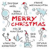 счастливого рождества, многоязычный, голубой — Cтоковый вектор