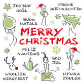 Merry christmas multilingual, green colour — Stock Vector