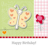 Greeting Card Birthday, butterfly — Stock Vector