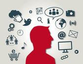 New Media, Social Media, red colour — Stock Vector