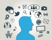 Social Media, New Media, blue colour — Stock Vector