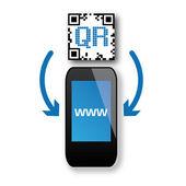 Smartphone, qr-code — Stockvektor