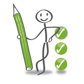 Stick figure with checkbox — Stock Vector