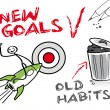 Stock Vector: New goals, old habits
