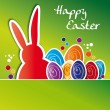 Greeting card happy easter, colorful Easter eggs — Stock Vector