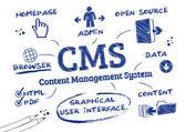 CMS Content Management System, Doodle — Stock Vector