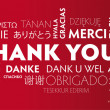 Thank You multilingual red — Vector de stock #37644235