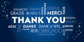 Dziękuję niebieski — Wektor stockowy