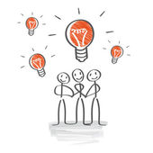 Brainstorming, develop ideas, Teamwork — Stock Vector