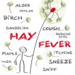 Stock Vector: Hay fever english keywords