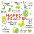 Stock Vector: Happy Easter multilingual