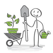Gardener, allotment — Stock Vector