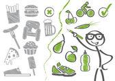 Change of diet, healthy living — Stock Vector