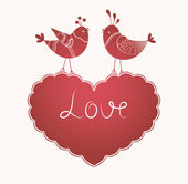 Vector romantic card with birds in love. wedding birds. — Stock Vector