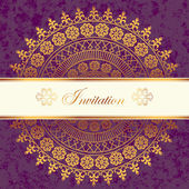 Vector decor lace on vintage background. Old circle lace — Stock Vector