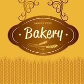 Bakery . For labels, pack for bread, baguette, loaf, cake, baked, croissant, bun — Stock Vector