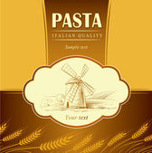 Pasta spaghetti Vector mill on field. For labels, pack — Stockvektor