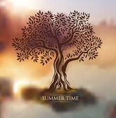 Tree. summer time.autumn — Stock Vector