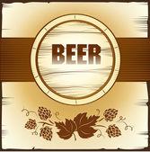 Beer keg with hop for label, package — Vector de stock